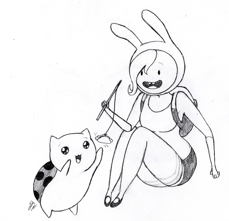 Fionna and catbug by mad hattress ari on deviantart for Catbug coloring pages