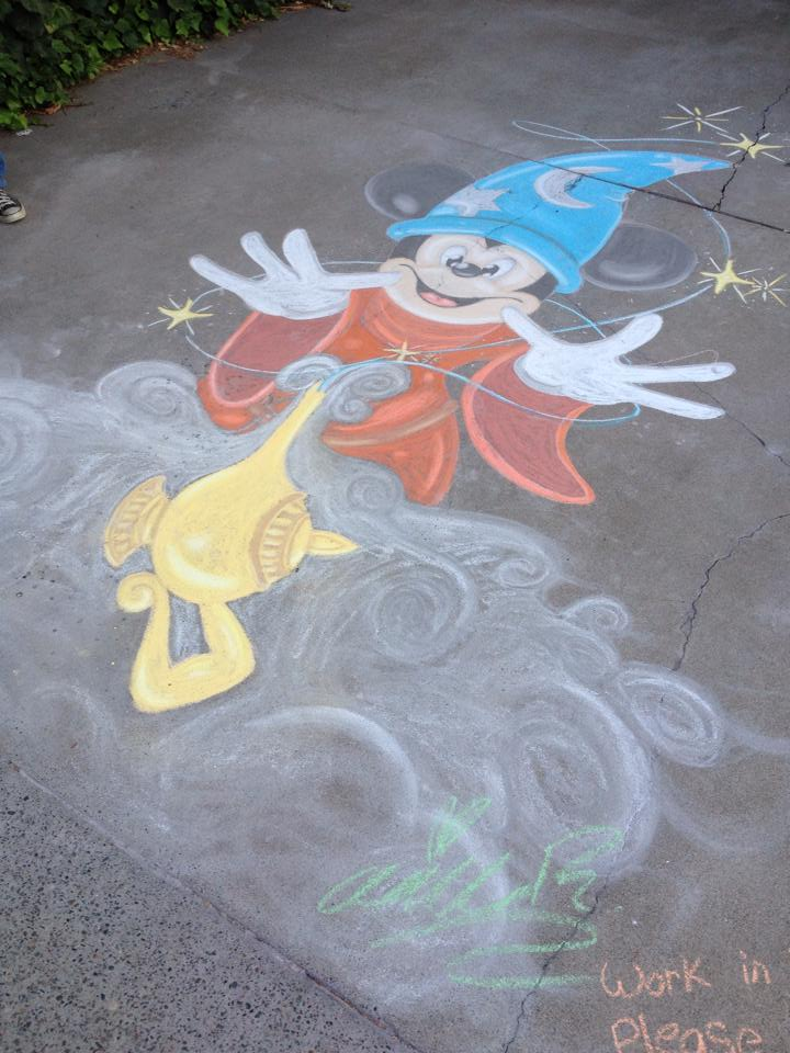 Wizard Mickey Chalk Art by Mad-Hattress-Ari