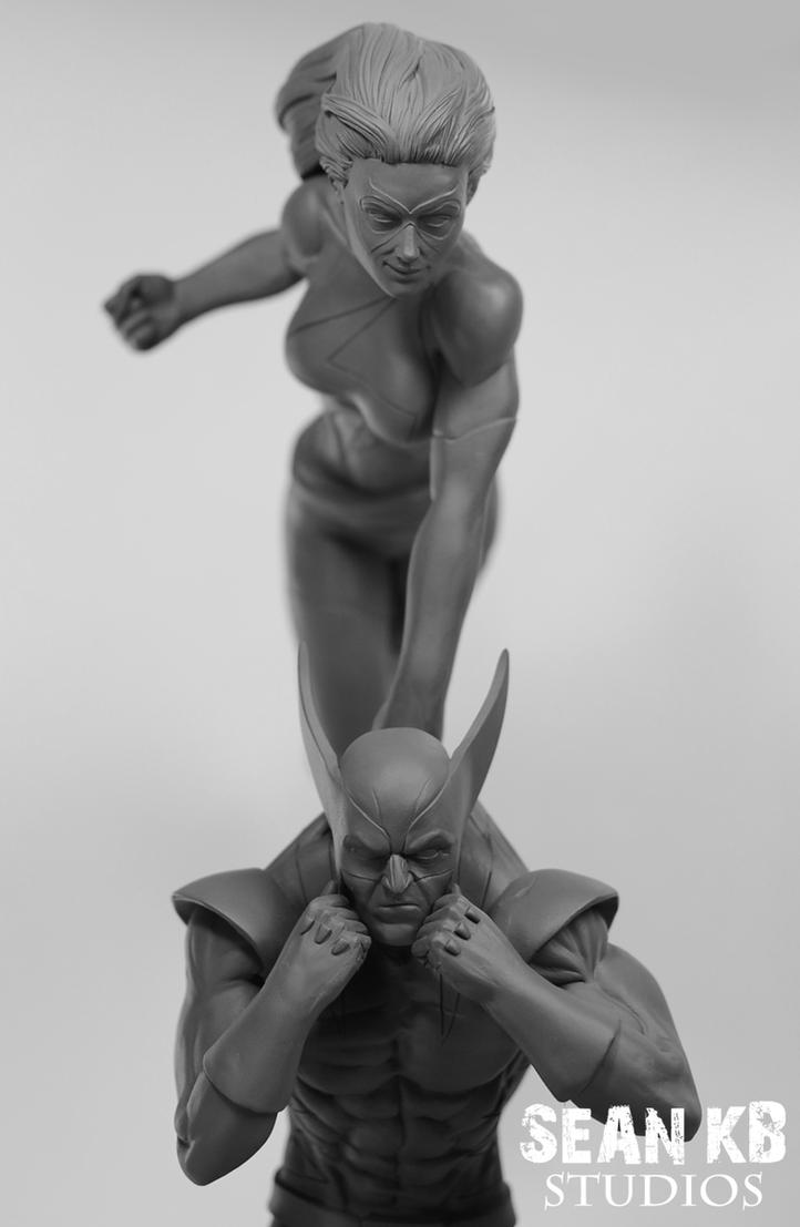 Wolverine and Ms. Marvel (close-up) by SKBstudios