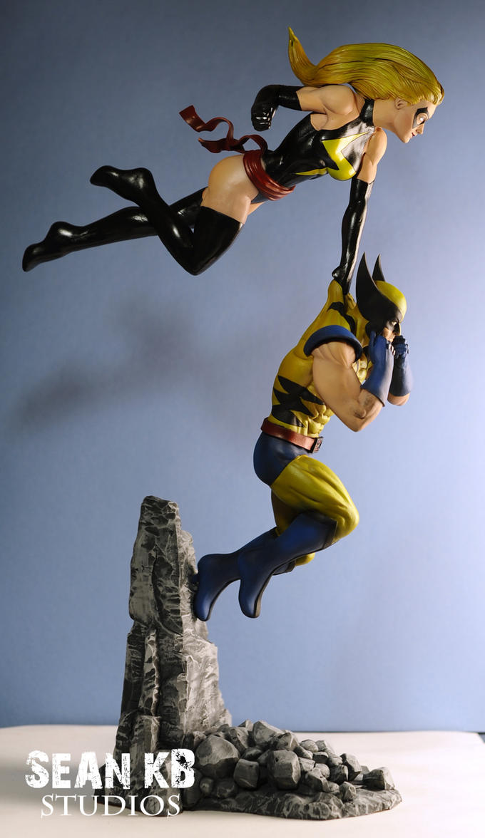 Wolverine and Ms. Marvel (side, painted) by SKBstudios