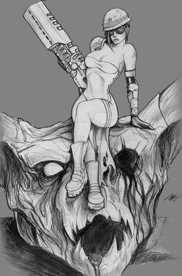 VIXENS OF THE WASTELAND: Charisma (concept sketch) by SKBstudios