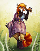 August Red Panda by TasDraws