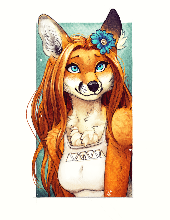 Foxie Portrait by TasDraws