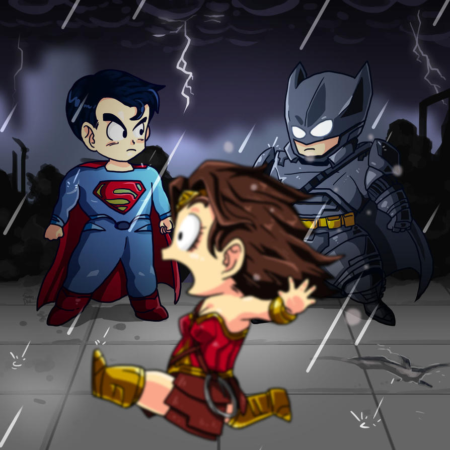 Batman vs Superman Chibi by smokeragon