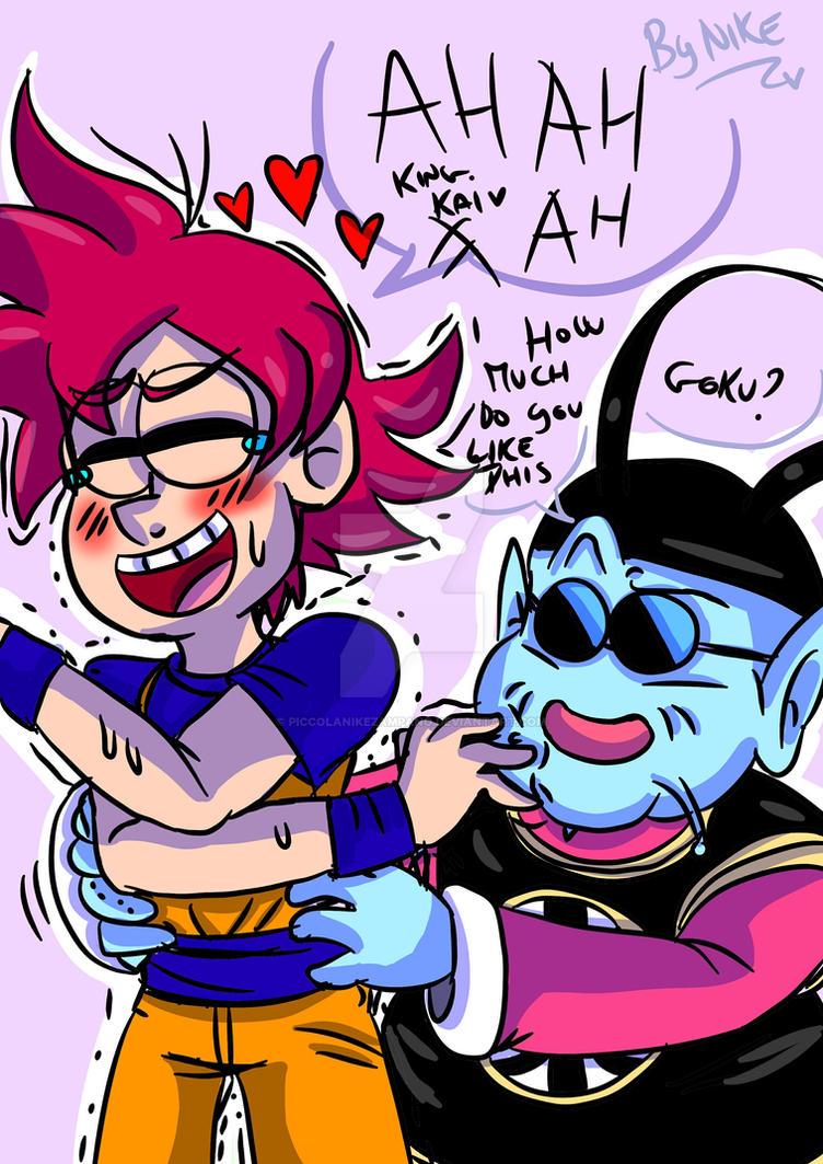 King kai ticklish Goku by PiccolaNikezampano