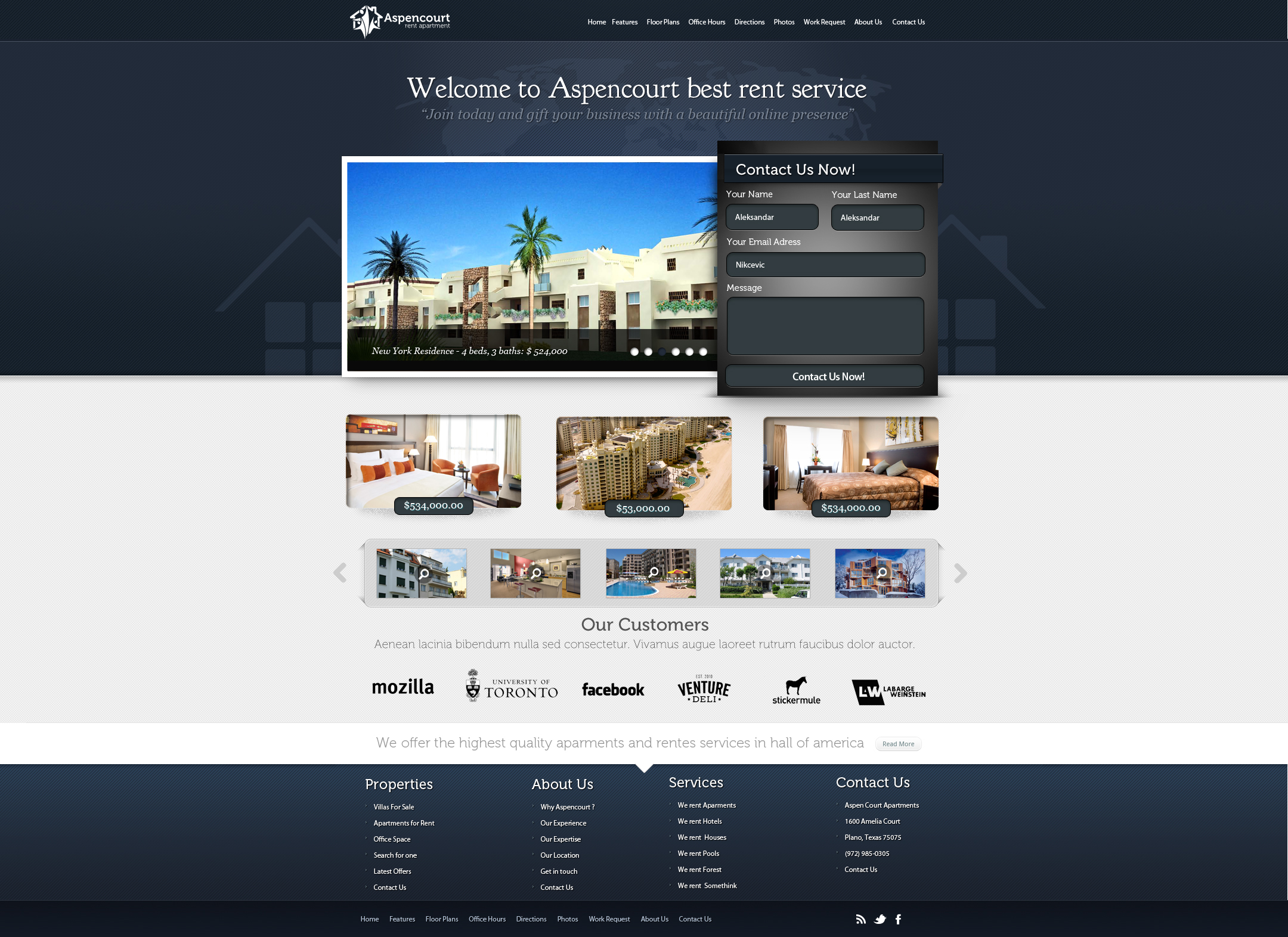 Rent Apartments Web Design by vasiligfx on DeviantArt