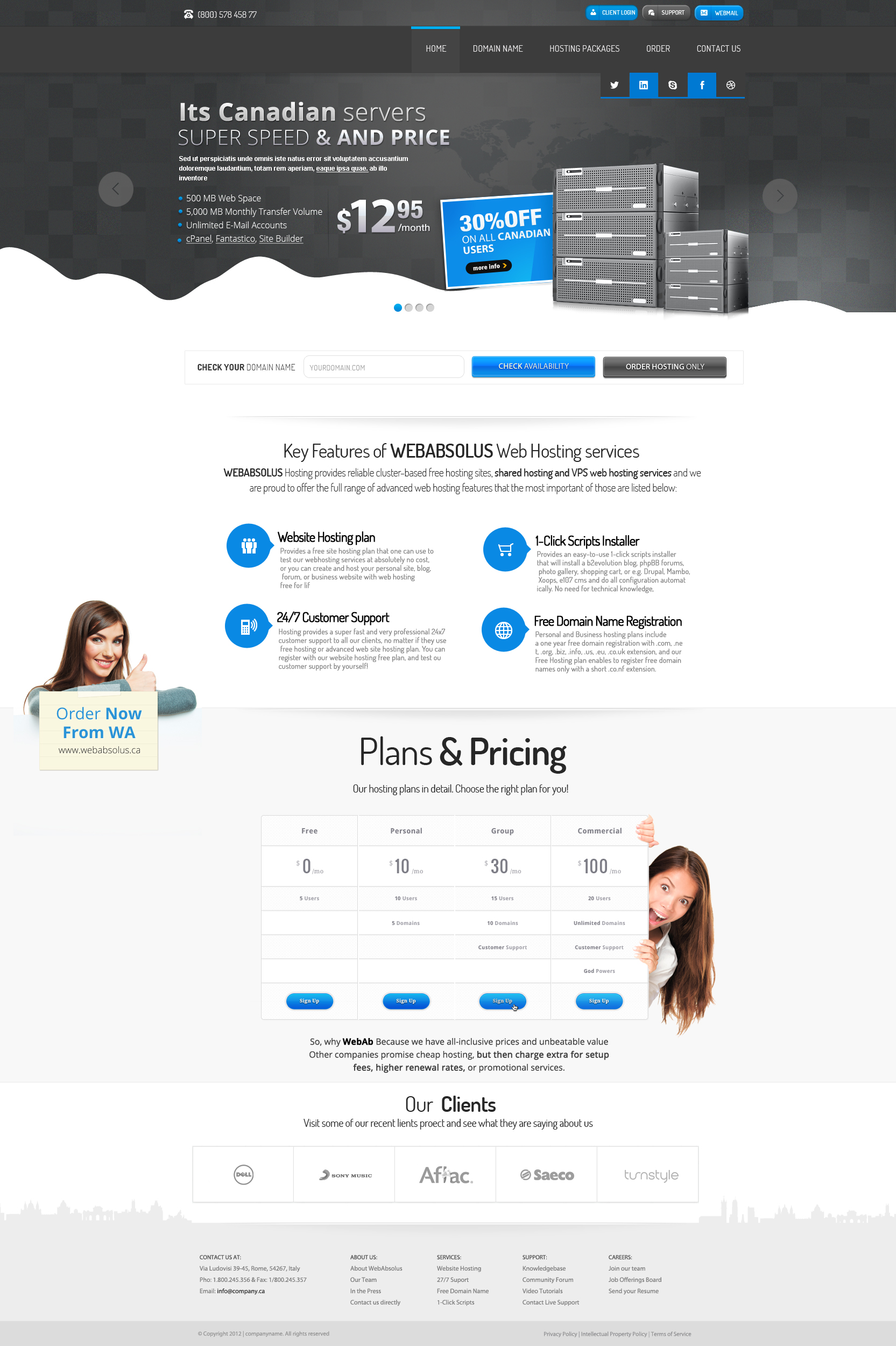 Canadian Hosting Company Web Design by vasiligfx