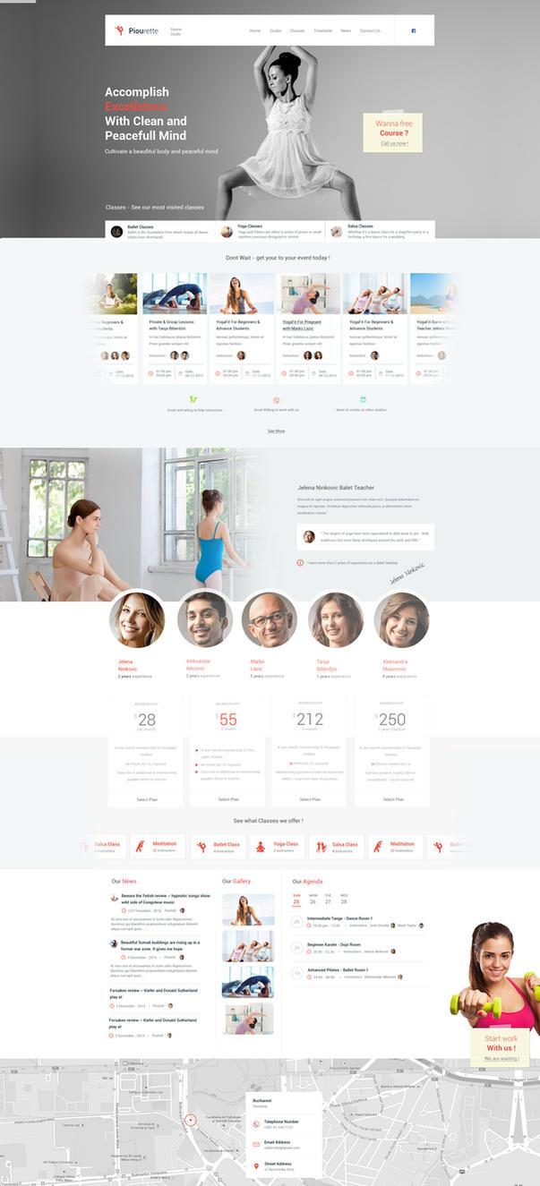 Piourette Dance Studio Web Design by vasiligfx
