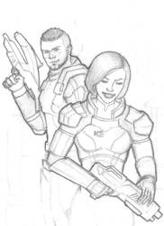 Mass Effect - Shepard and Vega by ArtPolly