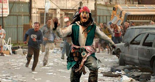 captain jack sparrow running from zombies by ...