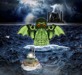 Cthulhu celebrating 1.000 supporters on LEGO Ideas by Steam-HeART