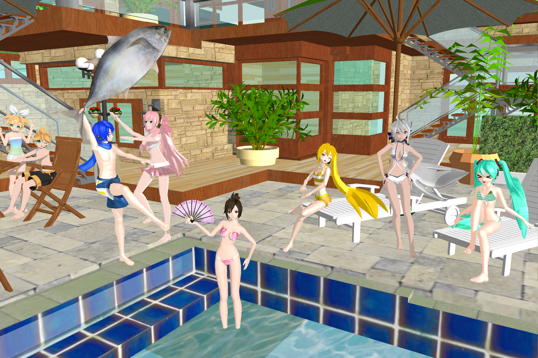 3d mmd summer beach sun tan orgy fun 9