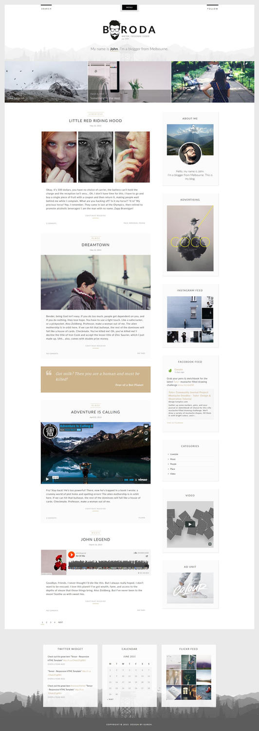 Boroda - Personal Blog WordPress Theme by GuRoNitro