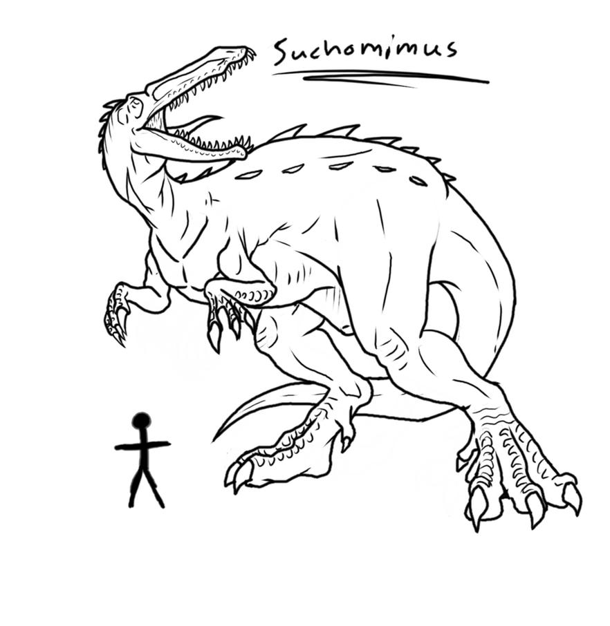 Giganotosaurus coloring pages coloring pages - Giganotosaurus Coloring Page 60961 Imgflash Suchomimus_lineart_by_h_box