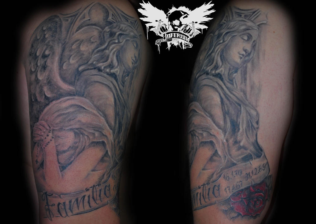 Cemetery angel tattoo by pully on deviantart for Cemetery tattoo pics