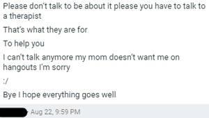 TW SUICIDE TALKS OF CUTTING