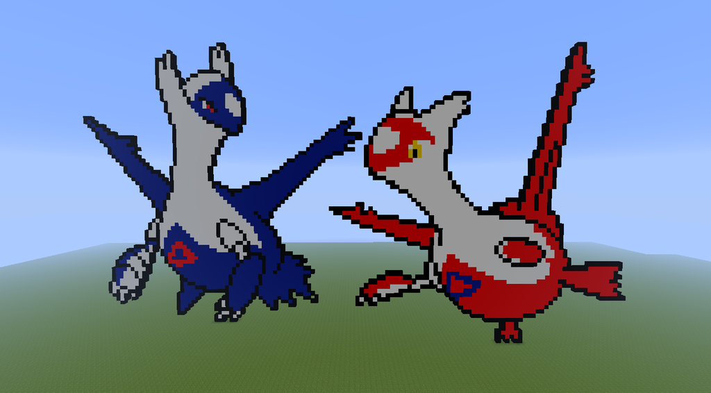 minecraft pixel art latios and latias by justinw1996