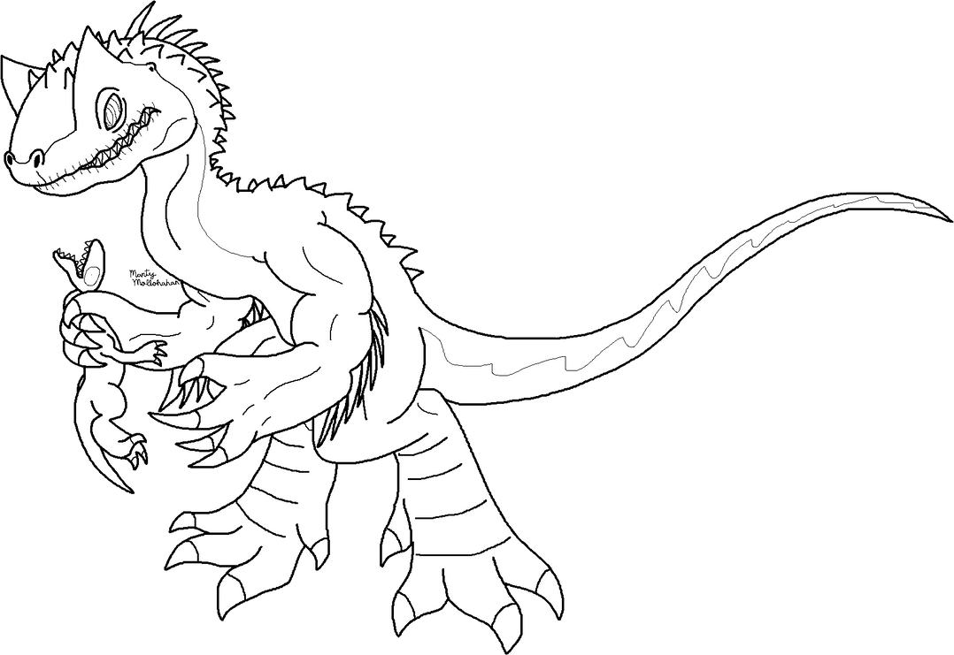 Indominus rex [line art] by Chronicle-King