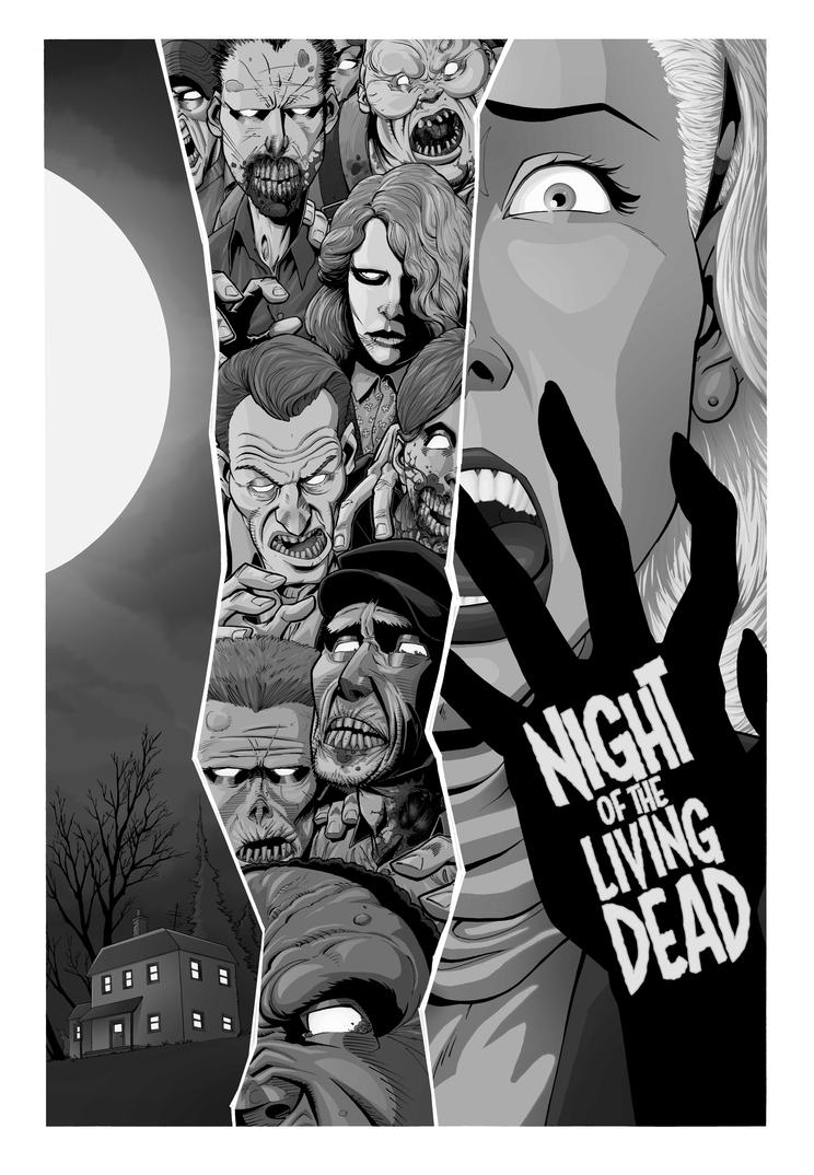Black and White Night of the Living Dead poster by J-WRIG