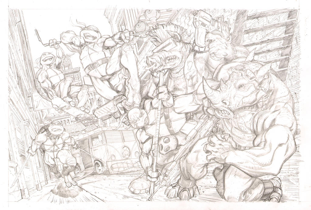 TMNT commission pencils by J-WRIG