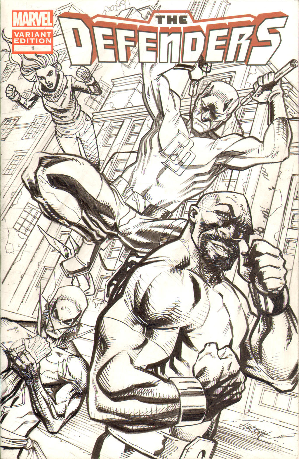 The Defenders Sketch Cover by J-WRIG