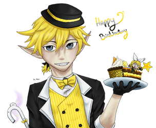 Kagamine Len Trickster, Birthday Cake by demonashley