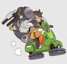 Overwatch, Tracer and Winston by SplashBrush