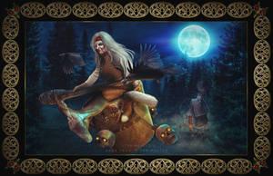 Baba Yaga in Her Mortar by itznikki530