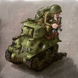 World War Toons Sherman Tank And a US Paratrooper