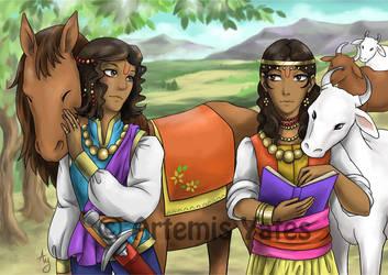 Nakula and Sahadeva by Artemis-Yates
