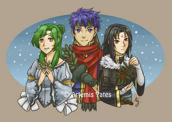 Roasting chestnuts on an open Fire Emblem by Artemis-Yates