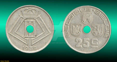 Coin 5 Cents 1938 - Perforated - (Belgium)