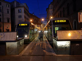 The tramway terminus of the night - in the histori