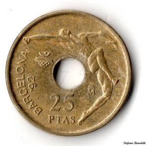 Spain - 25 perforated pesetas -the 1992 Barcelona