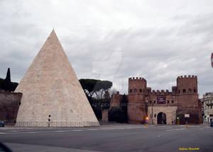 The Pyramid Cestia and Porta San Paolo in Rome