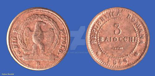3 Baiocchi of the Roman Republic of 1849
