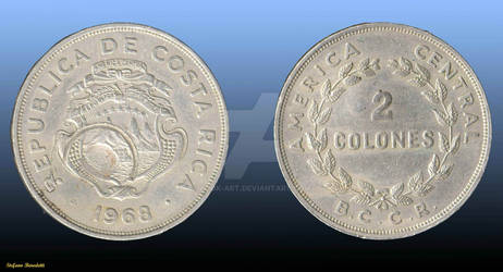 2 Colones Coin of the Republic of Costa Rica of 19
