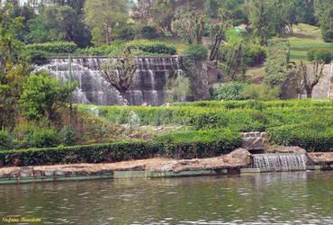Lake waterfalls in the EUR district in Rome (Lazio