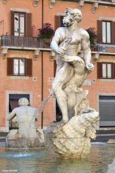 Detail of one of the fountains at Piazza Navona in
