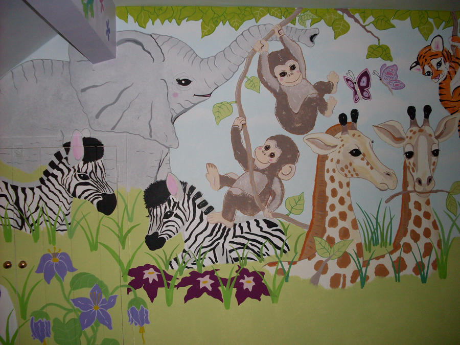 Baby animals jungle mural by dolls edd on deviantart for Baby jungle mural