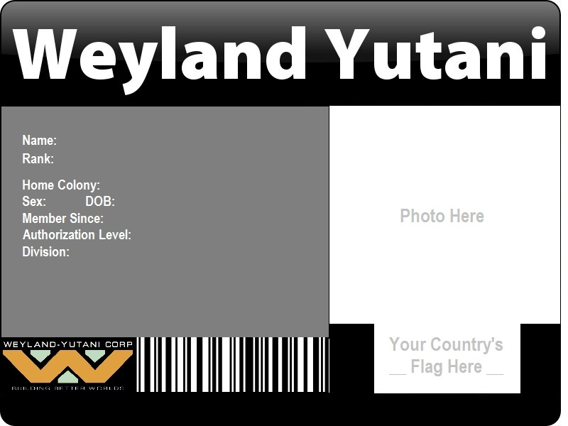 Weyland-Yutani ID Template by catsfriend12