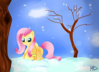 Winter Fluttershy by AppleNeedle