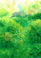 Cat in grass bush by efira-japan
