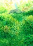 Cat in grass bush