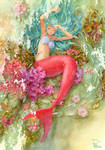 Mermaid is taking a nap by efira-japan