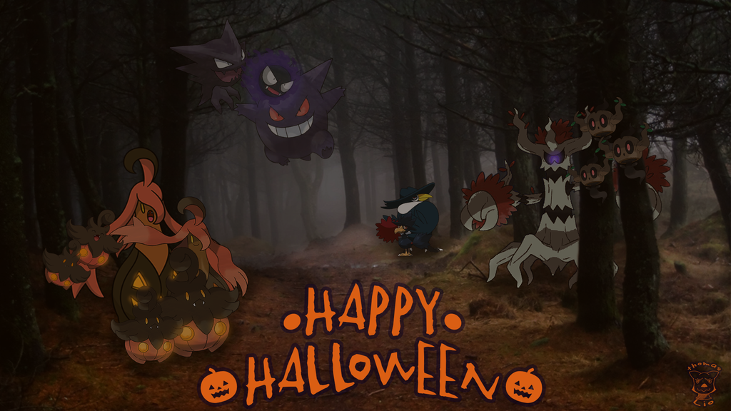 Wallpaper Happy Halloween Pokemon By ThomasLio