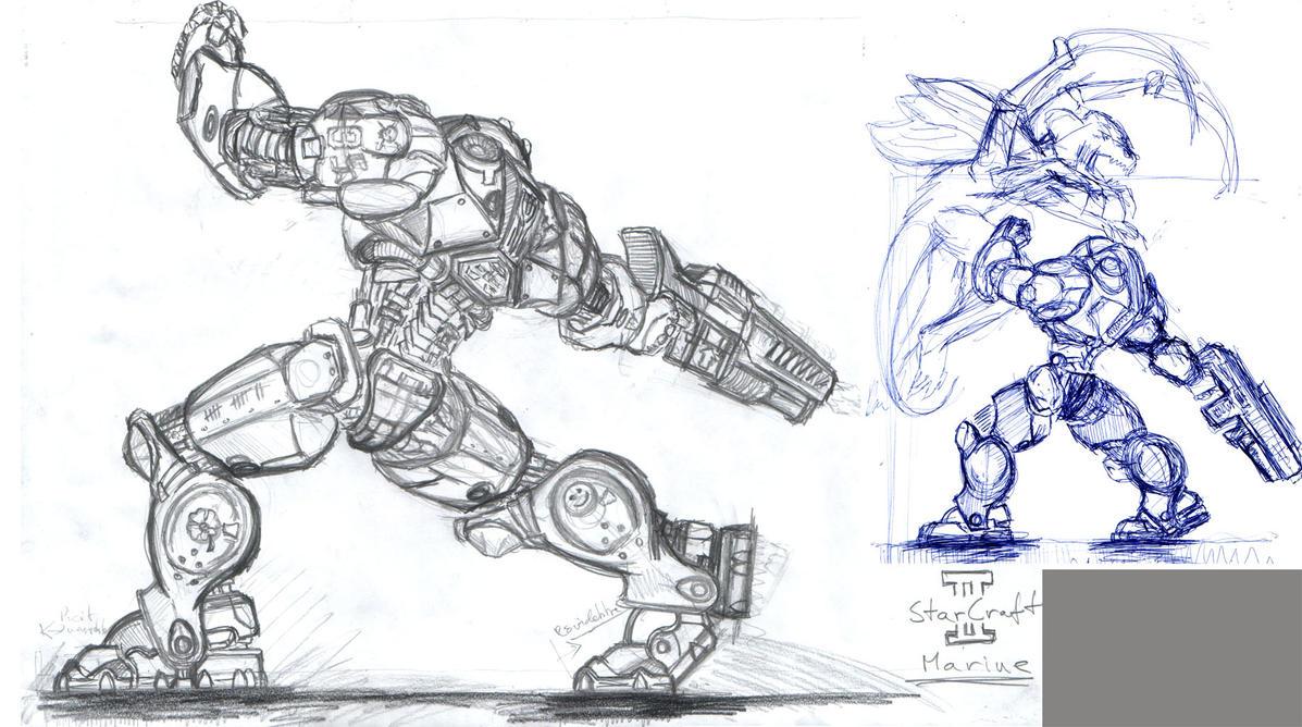 sketchstarcraft ii marine by fejoslaszlo on deviantart