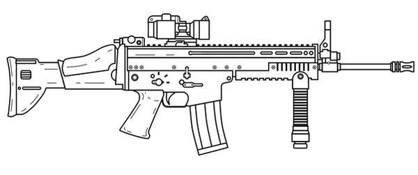 Line Art Gun : Fn scar h by lemmonade on deviantart