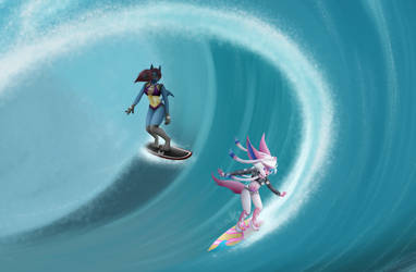 [C] big wave, two surfers upclose by MedicatedCannibal