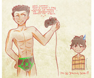 Dean's pants match his xbox. by likos